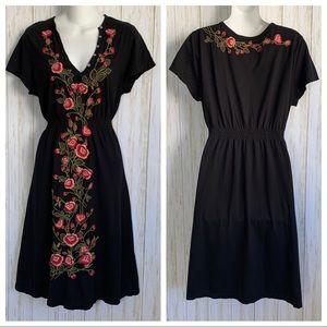 Johnny Was Dress Embroidered Floral V-Neck